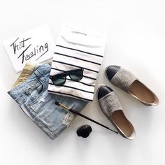 Love the relaxed layers in this flatlay. Chanel shoes all day. Mode Style, Style Me, Coco Chanel, Espadrilles Chanel, Chanel Shoes, Espadrilles Outfit, Chanel Outfit, Photo Pour Instagram, Fashion Mode