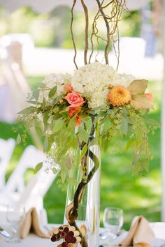gorgeous wedding floral outdoor wedding inspiration white and green leaves Wedding Flower Photos, Floral Wedding, Wedding Flowers, Outdoor Wedding Inspiration, Green Leaves, Table Decorations, Home Decor, Decoration Home, Room Decor