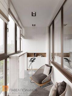 """Foto Innenloggia aus dem Projekt """"Das Innere der Wohnung in einem modernen Stil, LCD"""" Moskau . Small Patio Design, Balcony Design, Balcony Furniture, Apartment Furniture, Apartment Balcony Decorating, Apartment Design, Interior Modern, Interior Design, Clearance Outdoor Furniture"""