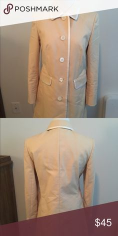 *flash sale* Tan & White Brooks Brothers Peacoat Like-new condition tan with white detailing. Calf/knee length pea coat. Price firm. Brooks Brothers Jackets & Coats Pea Coats