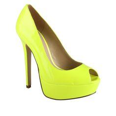 ALDO Bismarcka - Women Peep-toe Pumps: Neon Yellow!