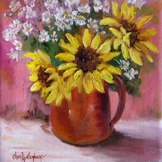 Floral Oil Painting Sunflowers In Copper Pitcher by ChatterBoxArt, $65.00