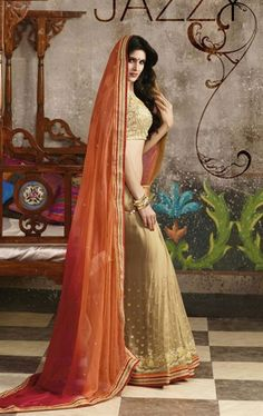 Exquisite Tan Brown and Orange Party Wear Saree with Blouse