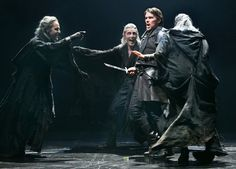 Ethan Hawke as Macbeth surrounded by the three witches, from left, Malcolm Gets, John Glover and Byron Jennings.