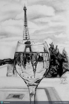 Easy Drawings: 70 Easy and Beautiful Eiffel Tower Drawing and Sketches Pencil Art Drawings, Cool Art Drawings, Art Drawings Sketches, Easy Drawings, Sketch Drawing, Drawing Ideas, Sketching, Dress Sketches, Sketch Ideas