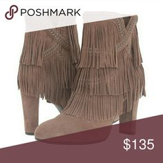 "Chic Fringe Taupe Sam Edelman Booties Swingy tiered fringe enlivens a chic, round-toe leather bootie lifted by the perfect covered heel. These adorable booties feature a side zipper & gorgeous woven detailing. The heel measures 3.75"". These are new with box. Sam Edelman Shoes Ankle Boots & Booties"
