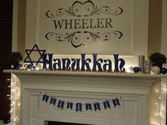 LOVE the clear lights and the gilt layered in front of the blue Chanukah sign!! ~ This Home of Ours - with a Jewish twist: Hanukkah- wood letters