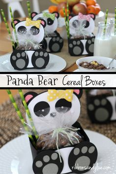 Such a cute idea for a Panda Party filled up with Panda Bear Cereal and Bamboo Paper StrawsPanda Bear Cereal Boxes. Such a cute idea for a Panda Party filled up with Panda Bear Cereal and Bamboo Paper Straws Panda Party, Panda Themed Party, Panda Birthday Party, Bear Party, Bear Birthday, Purple Party Favors, Panda Craft, Panda Bear Crafts, Panda Baby Showers