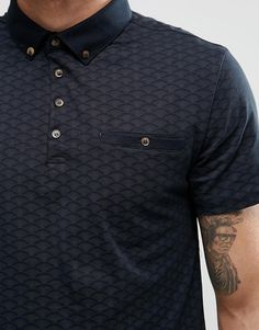 Buy River Island Polo Shirt In Navy With Fan Print at ASOS. Polo Rugby Shirt, Mens Polo T Shirts, Mens Tees, Rugby Shirts, Fashion D, Mens Fashion Wear, Fashion Online, Camisa Polo, Polo Design