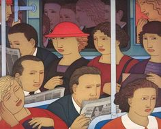 Reading on the subway in the morning / Leyendo en el metro por la mañana (ilustración de Andrew Stevovich)