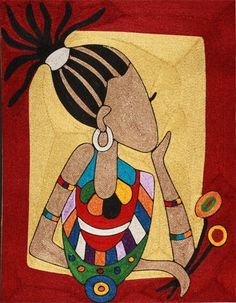 Colorful lady gallery for African Culture, contemporary art daily, paintings… Mandala, African Paintings, Contemporary Art Daily, Indian Folk Art, Africa Art, Silk Art, Collaborative Art, African American Art, Traditional Paintings
