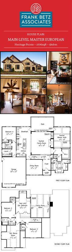 Favorite Plan Friday! The Heritage Pointe is a 2776sqft|5bdrm Frank Betz Plan. The European look of the Heritage Pointe would be ideal for a mountain community. A teen loft on the second floor has a window seat and the optional to include a closet. The master suite occupies one wing of the home and features a vaulted ceiling. The vaulted family room has built-in bookshelves, a fireplace and views to rear of the home.