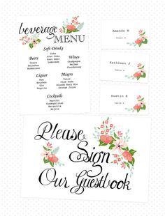 Free Printables....Hand drawn wedding signage http://merrybrides.tumblr.com/post/54514779879/weddingsigns