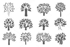 Tree logo illustration icon set by AliceNoir on @creativemarket