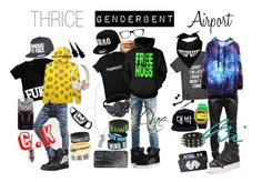 """THRICE Genderbent: Airport"" by minyxxngi ❤ liked on Polyvore featuring River Island, Supra, Ray-Ban, MusicSkins, ODD FUTURE, Famous Stars & Straps, Giuseppe Zanotti, Balmain, Ash and Kate Spade"