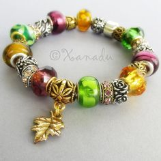 Golden Autumn European Charm Bracelet - Fall Themed Floral Bracelet With Gold, Green, Purple Glass Beads And Gold Beads