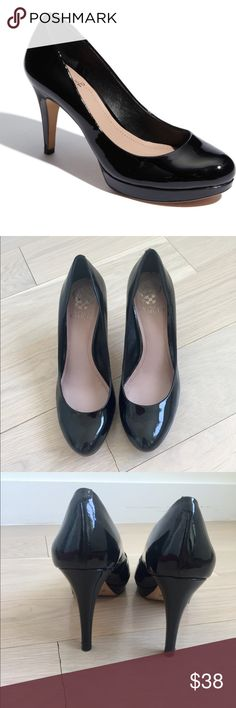 """Vince Camuto - Patent Leather Zella Pump (EUC) Snappy patent leather shapes a timeless pump lifted by a slim wrapped heel. Approx. heel height 3.75"""" with 0.5"""" platform. Condition: in excellent condition, worn twice mostly indoors. Only signs of wear are on the soles.  Don't have the original box, will ship in an alternative box. Vince Camuto Shoes Heels"""
