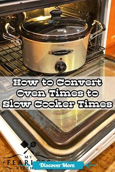 How to Convert Oven Times to Slow Cooker Times from My Fearless Kitchen. Have you ever wanted to convert an oven recipe to a slow cooker recipe? The first step is to know how long it will need to cook in your slow cooker. #slowcooker #slowcook #slowcookerrecipes #slowcookerchicken