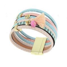 Bracelet manchette cuir multicolore 1