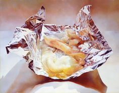 Cod Fillets on Tin Foil (1974, oil on Masonite, 53.3 × 68 cm) by Mary Pratt, at the National Gallery of Canada. (Collection of Angus and Jean Bruneau)