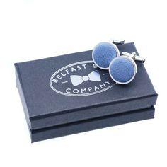 Irish Linen Cufflinks in Slate Blue Gifts For Father, Gifts For Him, Traditional Fabric, Belfast, Groomsmen, Slate, Classic Style, Irish, Cufflinks