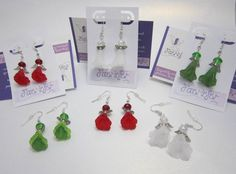 Christmas fairy or angel Earrings in red white or green pretty gift hand crafted