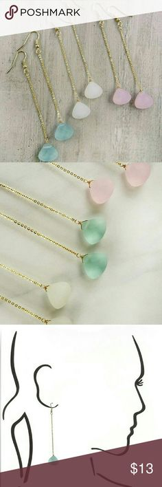 """Anne Stone Drop Earrings Glowing frosted glass stones come in 3 colors are 3"""" long Jewelry Earrings"""