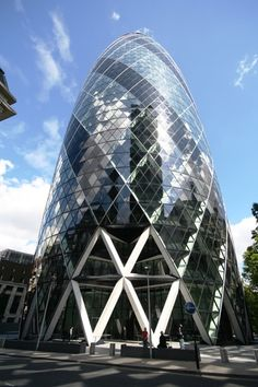 30 St Mary Axe, also known as 'The Gherkin' - London, England, United Kingdom Dezeen Architecture, Unique Architecture, Gherkin London, Swiss Re, 30 St Mary Axe, Norman Foster, The Uncanny, Design Development, Around The Worlds