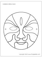 Ready-to-color Chinese Opera Mask