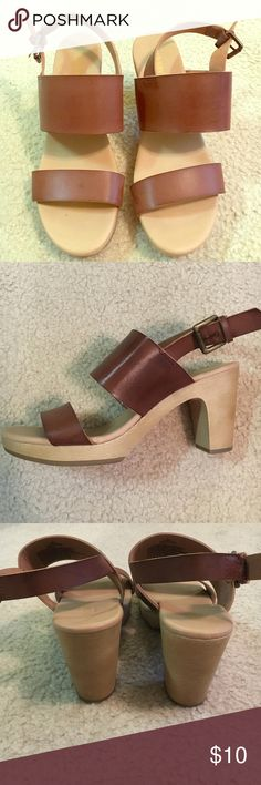 Camel brown stacked heels, Old Navy, size 7 Camel brown leather heels, two straps in front. Buckle closure at back. Stacked heel look. Old Navy, size 7. Worn only a handful of times!! Old Navy Shoes Heels