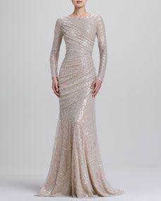 Carmen Marc Valvo Long-Sleeve Sequined Mermaid Gown