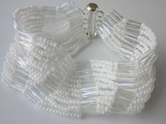 """Video:  White Bracelet with Seed Beads11\0. Easy to make I'd call this an """"ice-cycle"""" pattern.  #Seed #Bead #Tutorials"""