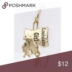 """🎁Gold """"LOUISIANA girl"""" state bangle bracelet Whether you live in NOLA or Baton Rouge, this bracelet is for you!  Swamp girls represent in this gold bangle with """"Louisiana Girl"""" etched in black and a small charm dangling to help capture the attention of onlookers.  Great Christmas gift ! Volunteer Charm Jewelry Bracelets"""