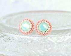 Mint peach coral stud earrings