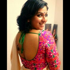 Kerala kasava saree with Kutch embroidery blouse.