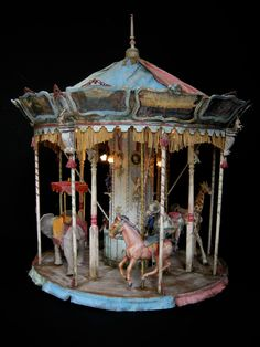 """Carrousel"" scale~Image via Juilen Martinez Vintage Circus, Vintage Toys, Antique Toys, Vintage Antiques, Carousel Horses, Tin Toys, Clowns, Dollhouse Miniatures, Art Dolls"