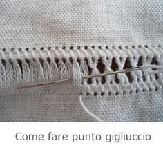 Elena Filo e Fantasia week zar: Come si fa il gigliuccio Hardanger Embroidery, Embroidery Stitches, Embroidery Patterns, Hand Embroidery, Drawn Thread, Thread Work, Types Of Embroidery, Learn Embroidery, Bookmark Craft