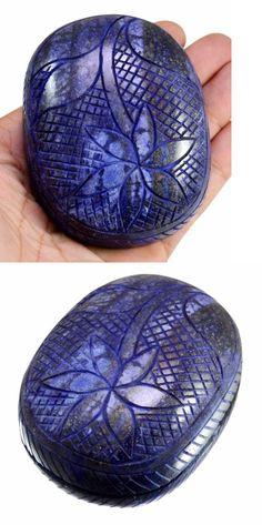 Lapis Lazuli 10235: 1491Ct Big Huge Natural Floral Art Work Hand Carving Lapis Lazuli Loose Gemstone BUY IT NOW ONLY: $74.99