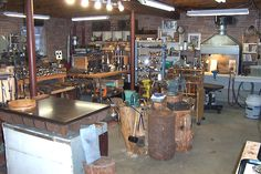 """Silversmith Shop  Is that a steel bench?! Sure beats a 3"""" bench block."""