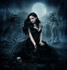 Cheap Women Gothic Style Blouse T Shirt Tops Lace Insert Bell Swing Long Sleeve – Skull Head Gothic Angel, Gothic Vampire, Vampire Art, Gothic Fairy, Dark Gothic, Female Vampire, Gothic Fantasy Art, Fantasy Artwork, Gothic Artwork