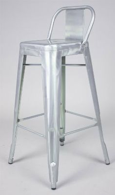"""Marais Industrial Style Low Back Bar Stool in Brush Galvanized Finish by Manhattan Designer Products. $145.00. Strong and Durable Steel Construction; Iconic European Style; Dimensions: W17.5"""" X D17.5"""" X H37"""" Seat Height: H30""""; Zinc plated for outdoo use; Brush Galvanize Finish (Also Available in Brush Galvanized, Matte Red Rust, Black, White, Red). Bring back the vintage styling with a modern industrial touch. This Low Back steel Bar Stool available in in a variety of distinct ..."""