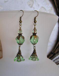 Green Dangle Earrings with Czech Peridot Trumpet by SmockandStone, $18.00