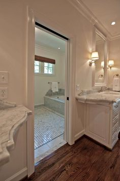 Suzie The Wills Company Master Bathroom White Single Bathroom Vanities With Marble Bathroom Wood Floorswhite
