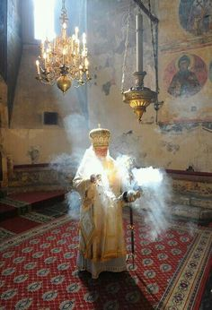 Greek Orthodox prayer arise as incense Orthodox Priest, Orthodox Christianity, Russian Orthodox, Church Architecture, World Religions, My Church, Sacred Art, Christian Art, Virgin Mary