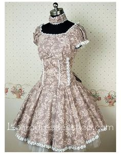 Cheap Grey Cotton Short Sleeve classic Lolita dress With Full floral print And lace-up Back Style Sale At Lolita Dresses Online Shop