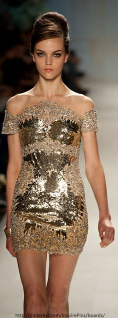 Pavoni SS2013 gold mini cocktail dress