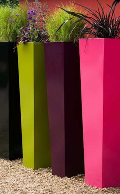 Colorful Outdoor Tall Planters If you want to group tall planters together in your yard, such as by placing them nicely spaced apart in straight rows, you may be able to find a nursery to give you a discount. Tall Planter Boxes, Tall Outdoor Planters, Cement Planters, Garden Planters, Planter Pots, Cheap Planters, Container Gardening, Container Plants, Jardiniere Design