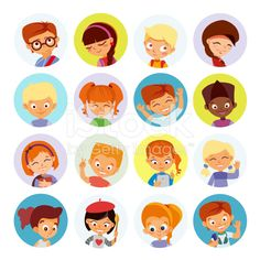 Collection of kids avatars,cute cartoon boys and girls faces. royalty-free stock…