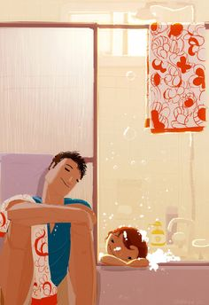 "(Pinned by AshOkaConcept ॐ) ""Sunday Night"" Bath by Pascal Campion Pascal Campion, Love Illustration, Digital Illustration, Fathers Love, Papi, Beautiful Moments, American Artists, Artist Art, Illustrations"