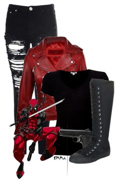 """Deadpool inspired: casual"" by tardis-221b ❤ liked on Polyvore"